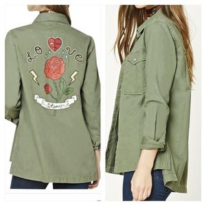 F21 Love Story Heart Patch Army Utility Jacket